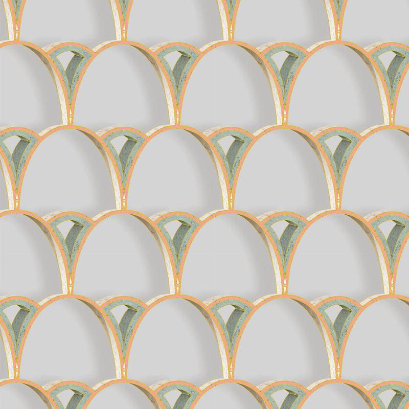 Kit Miles 'Tiber Archways' Wallpaper Peach with Emerald Green