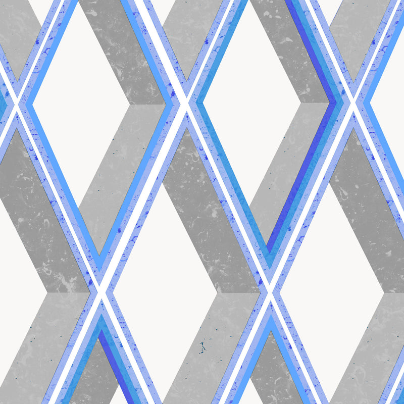 Kit Miles 'Trompe Loiel' Wallpaper Bright Grey & Blues Detail
