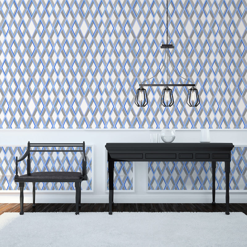 Kit Miles 'Trompe Loiel' Wallpaper Bright Grey & Blues Roomset