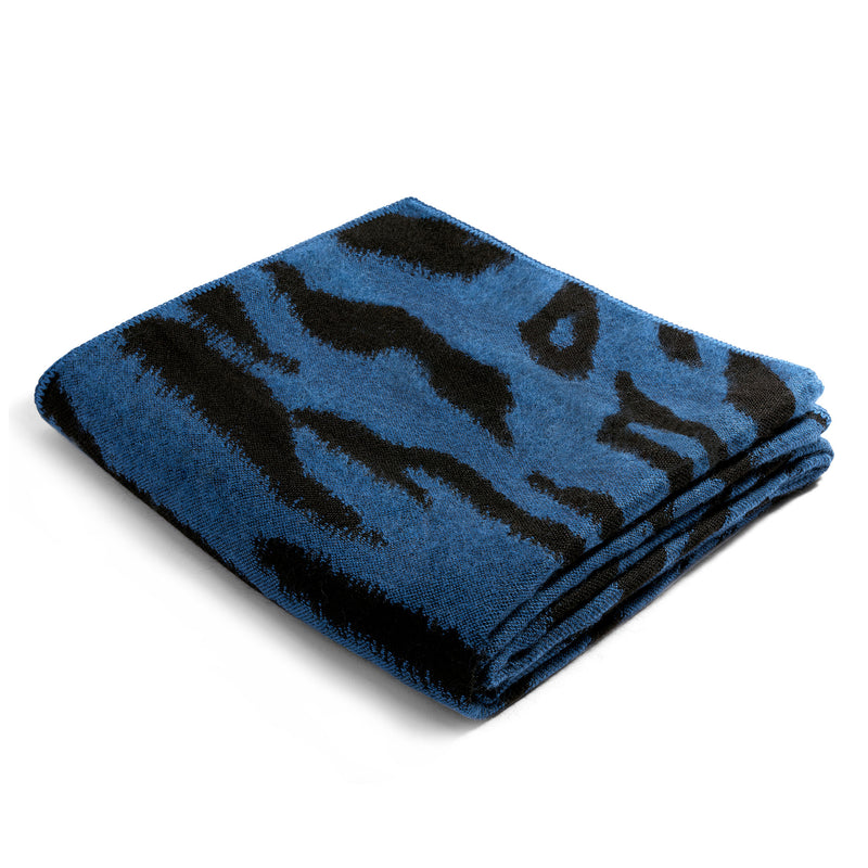 L'Objet 'Tiger' Jacquard Throw - Blue Folded