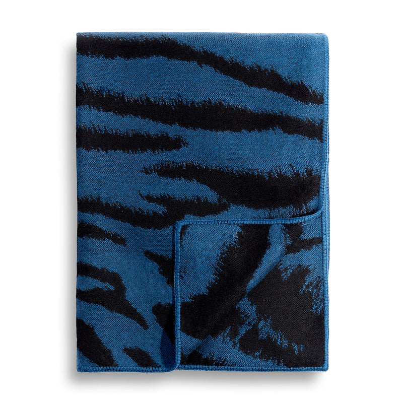 L'Objet 'Tiger' Jacquard Throw - Blue