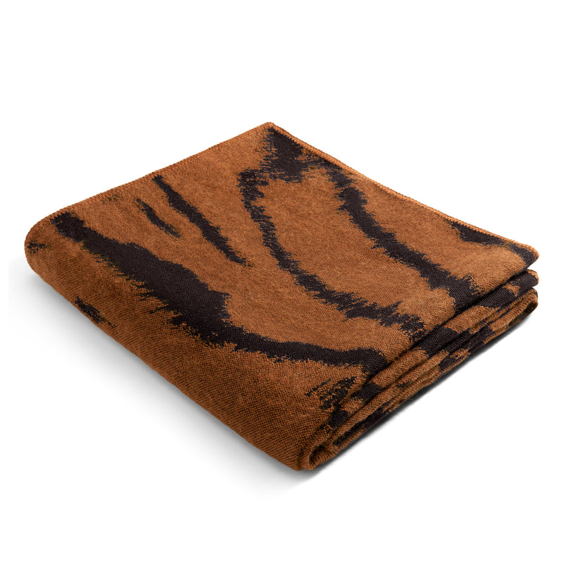 L'Objet 'Tiger' Jacquard Throw - Natural Folded