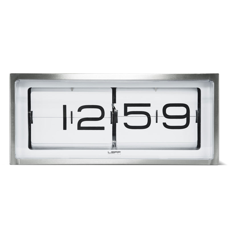 Brick Clock Steel/White Front