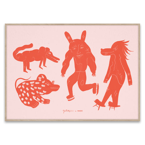 Four Creatures Print by Jaime Hayon - Red
