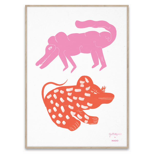 Two Creatures Print by Jaime Hayon - Pink/Red