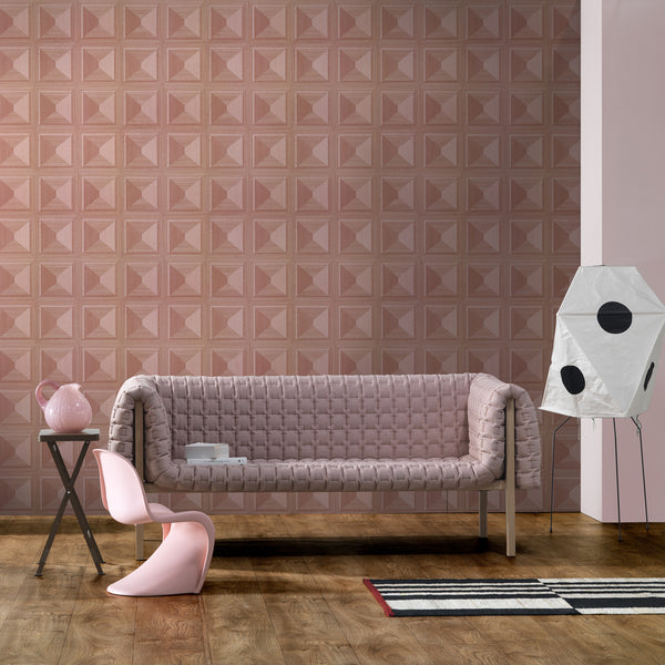 NLXL Lab Marquetry Wallpaper by Thomas Eurlings Pink Roomset