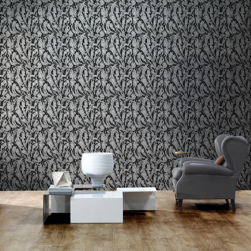 NLXL LAB Monochrome Leaves Wallpaper by Mr & Mrs Vintage Black