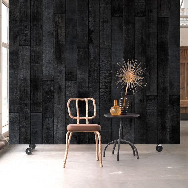Burnt Wood Wallpaper by Piet Hein Eek Roomset