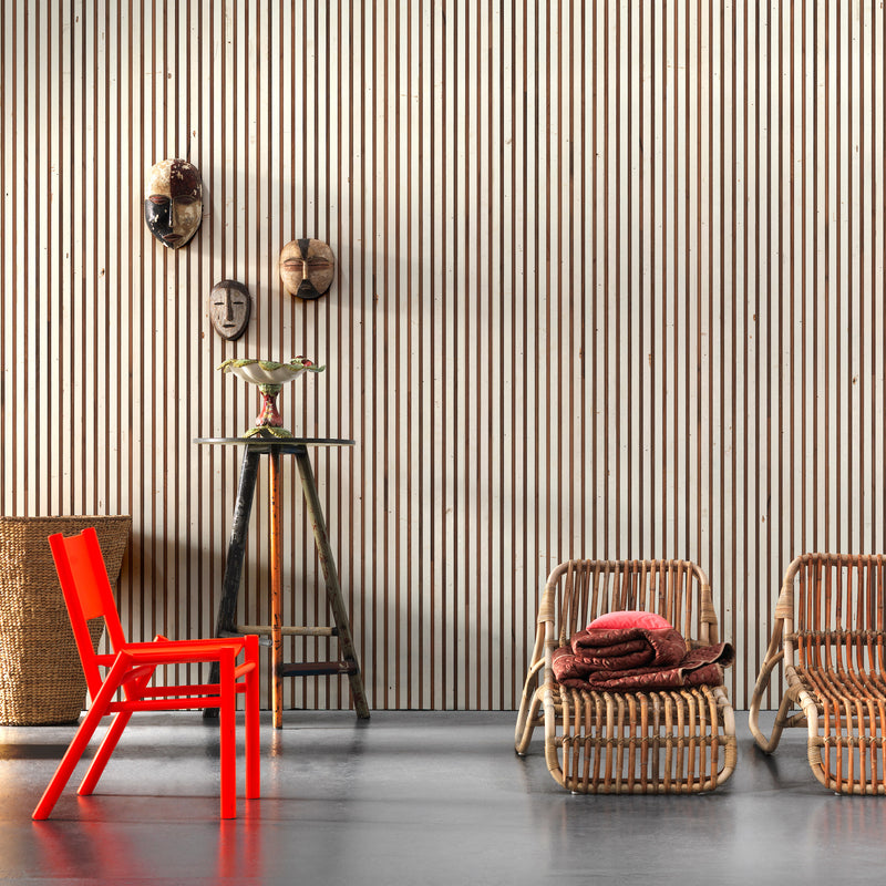 NLXL Timber Strips Wallpaper by Piet Hein Eek - TIM-03 Roomset