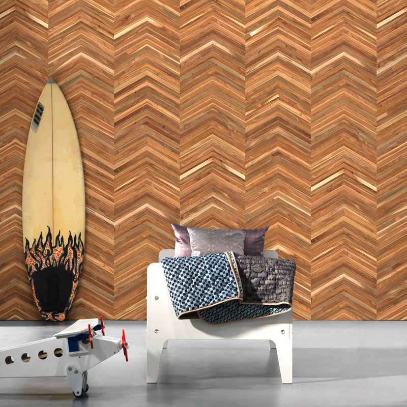 NLXL Timber Strips Wallpaper by Piet Hein Eek - TIM-06 Roomset