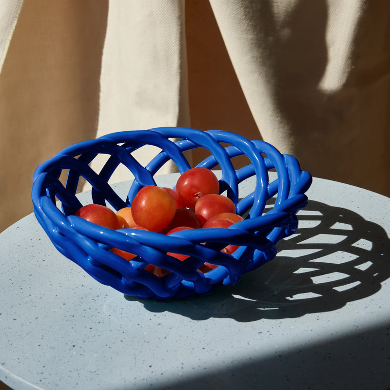 Octaevo Sicilia Ceramic Basket - Large Blue Mood Toms