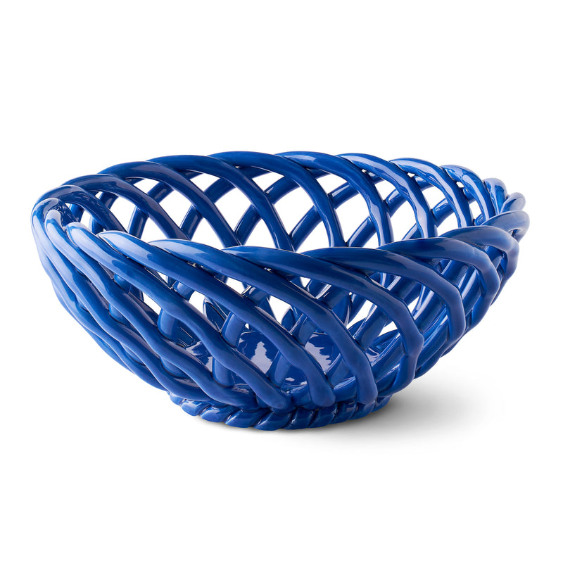 Octaevo Sicilia Ceramic Basket - Large Blue