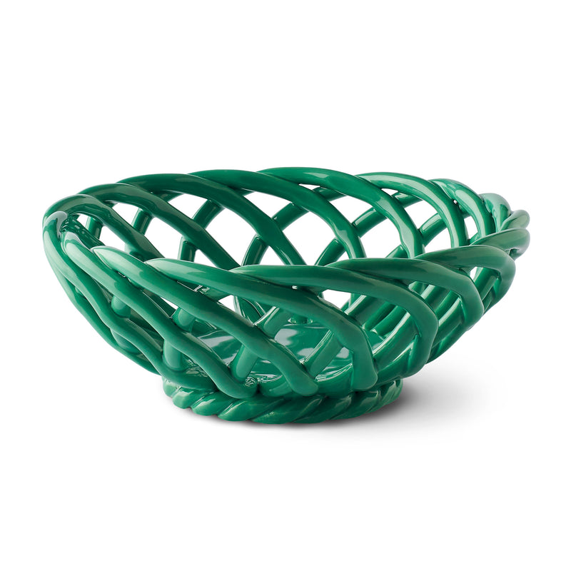 Octaevo Sicilia Ceramic Basket - Small Green