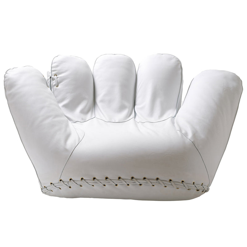 Poltronova 'Joe' Baseball Glove Armchair White Leather Front