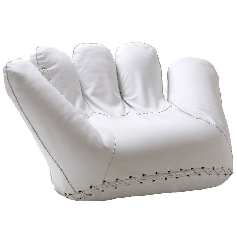 Poltronova 'Joe' Baseball Glove Armchair White Leather