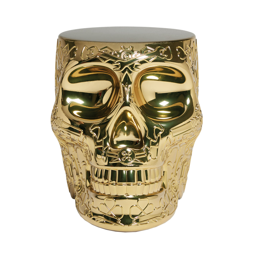 Qeeboo Mexico Skull Stool/Side Table Metallic Finish Gold Front