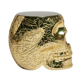 Qeeboo Mexico Skull Stool/Side Table Metallic Finish Gold Side