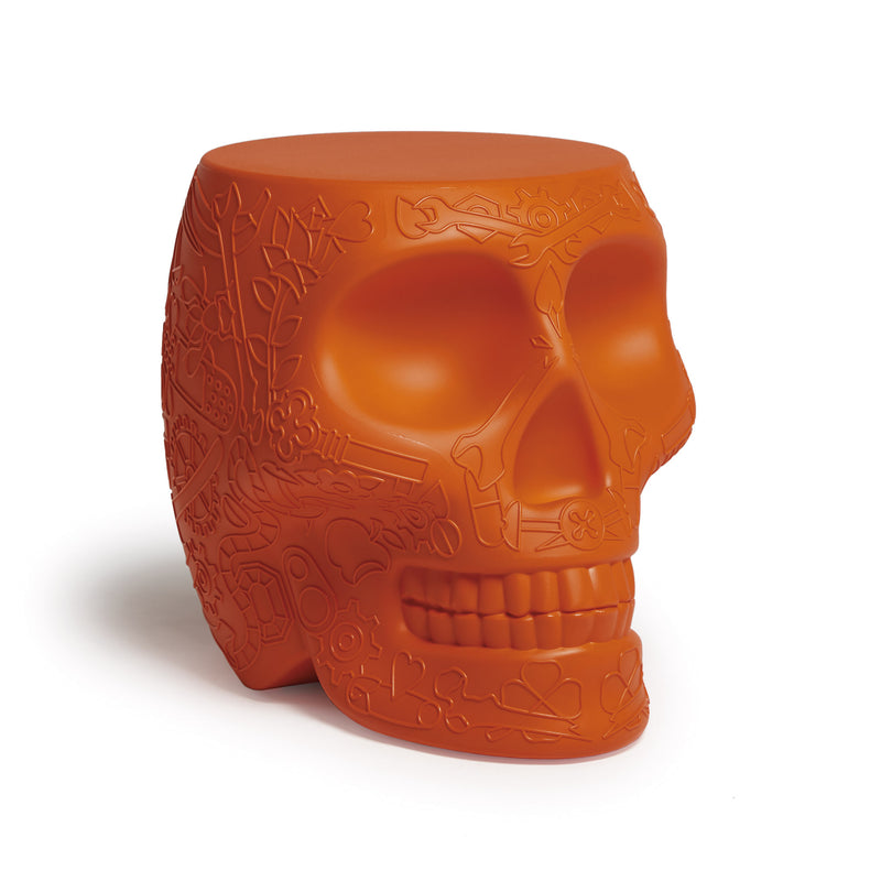 Qeeboo 'Mexico' Skull Stool/Side Table by Studio Job Terracotta Angle