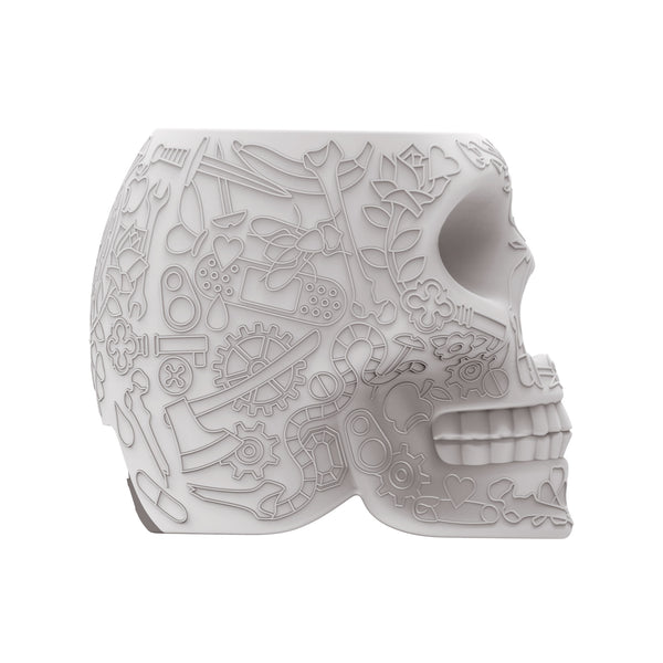 Qeeboo Mini Mexico Skull Power Bank by Studio Job Grey Side