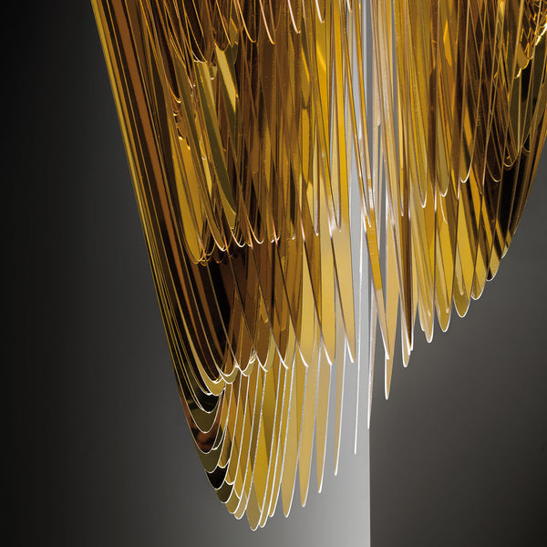 Slamp aria gold suspension lamp m jane richards interiors for Zaha hadid lamp