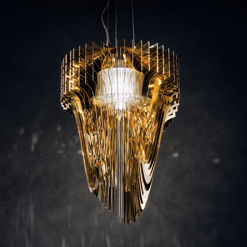 Slamp 'Aria Gold' Suspension Lamp by Zaha Hadid - Medium Mood