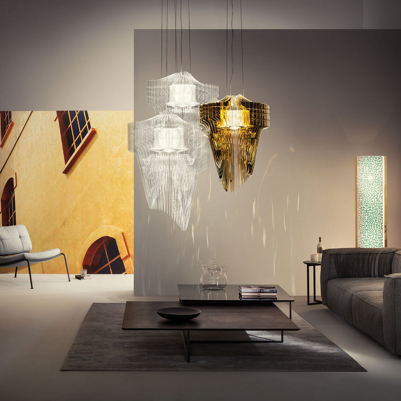 Slamp 'Aria Gold' Suspension Lamp by Zaha Hadid - Small Room Setting