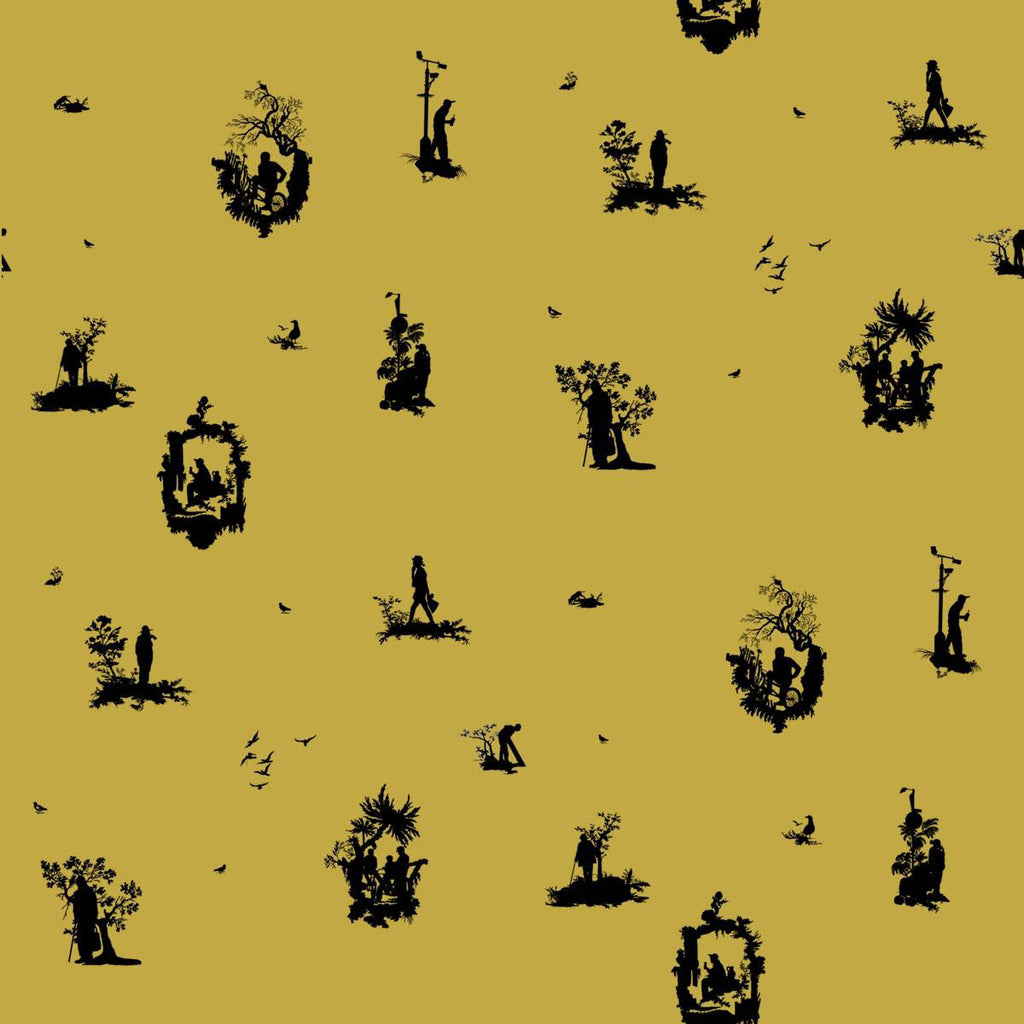 TImorous Beasties 'Decouper 1' Hand-Print Wallpaper Black on Gold