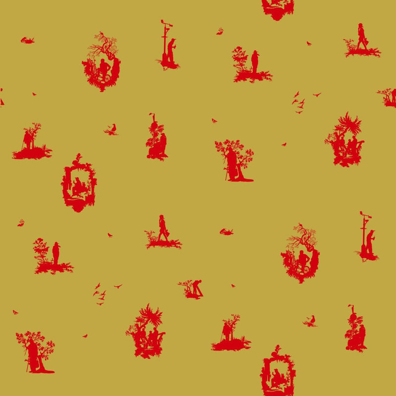 TImorous Beasties 'Decouper 1' Hand-Print Wallpaper Red on Gold