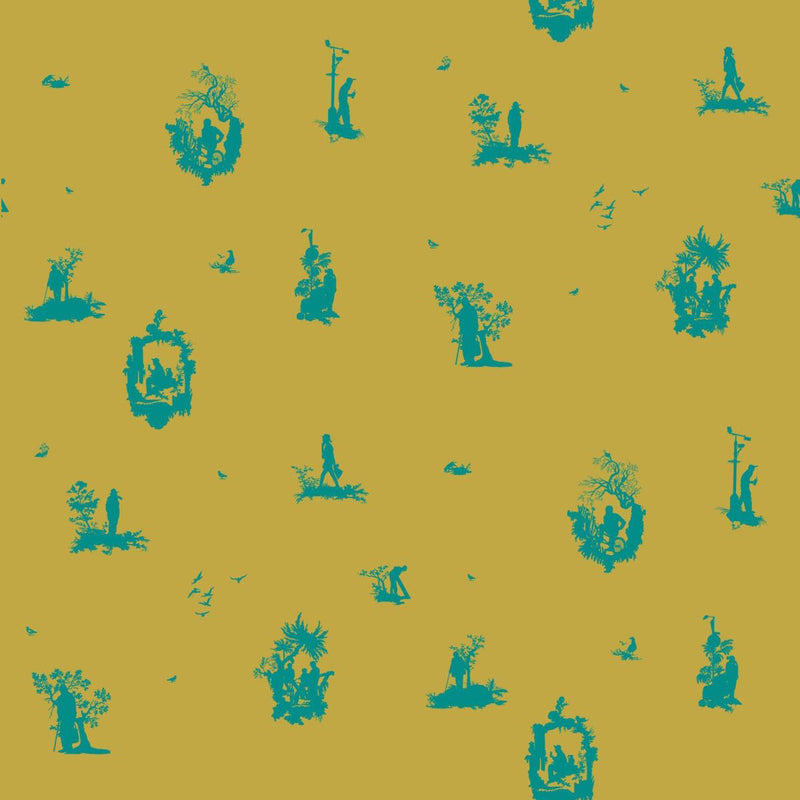 TImorous Beasties 'Decouper 1' Hand-Print Wallpaper Turquoise on Gold
