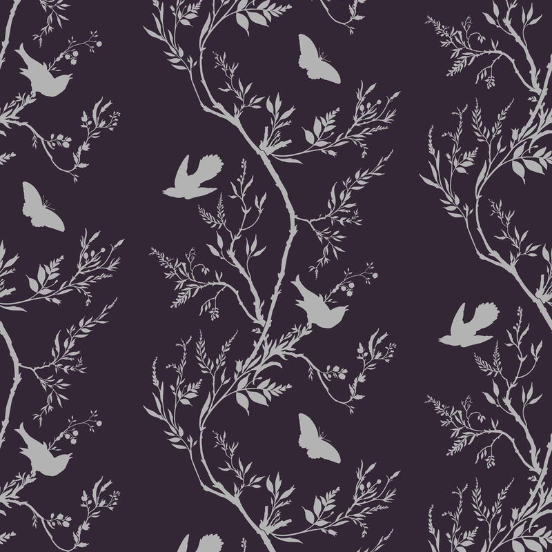 Timorous Beasties 'Birdbranch Stripe' Hand-Print Wallpaper Silver Pearl on Peregrine