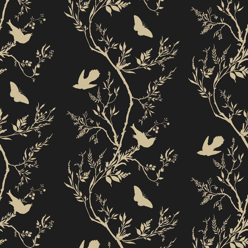 Timorous Beasties 'Birdbranch Stripe' Hand-Print Wallpaper Gold Pearl on Black