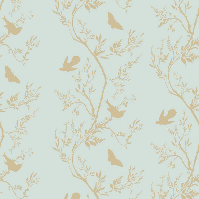 Timorous Beasties 'Birdbranch Stripe' Hand-Print Wallpaper Gold Pearl on Mitchell