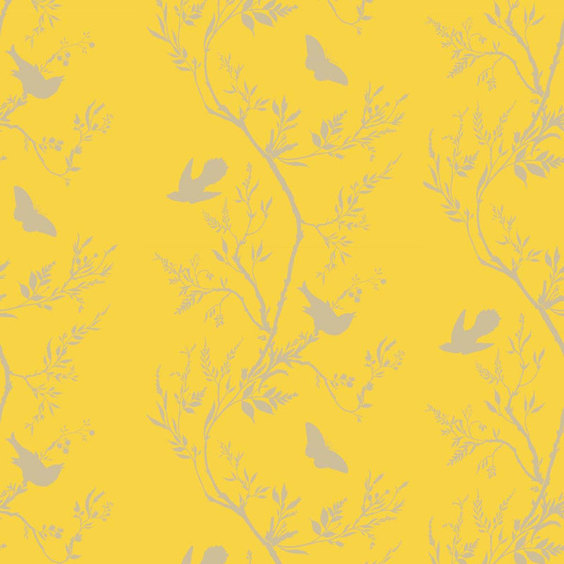 Timorous Beasties 'Birdbranch Stripe' Hand-Print Wallpaper Gold Pearl on Yellow
