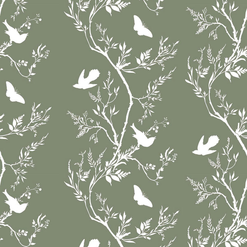 Timorous Beasties 'Birdbranch Stripe' Hand-Print Wallpaper White on Hampden