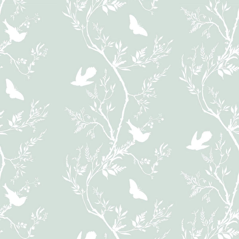 Timorous Beasties 'Birdbranch Stripe' Hand-Print Wallpaper White on Mitchell