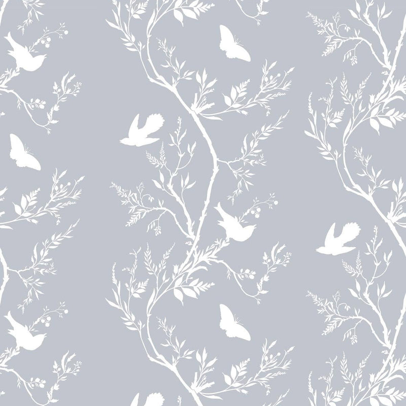 Timorous Beasties 'Birdbranch Stripe' Hand-Print Wallpaper White on Pale Blue