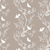 Timorous Beasties 'Birdbranch Stripe' Hand-Print Wallpaper White on Stone