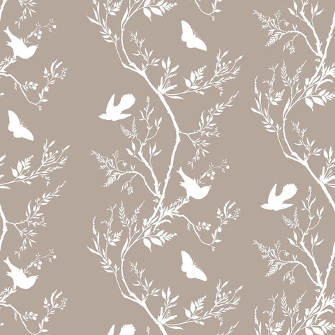Timorous Beasties Birdbranch Stripe Hand-Print Wallpaper