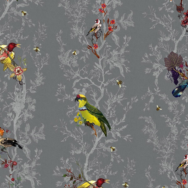 Timorous Beasties 'Birds N Bees' Wallpaper Charcoal