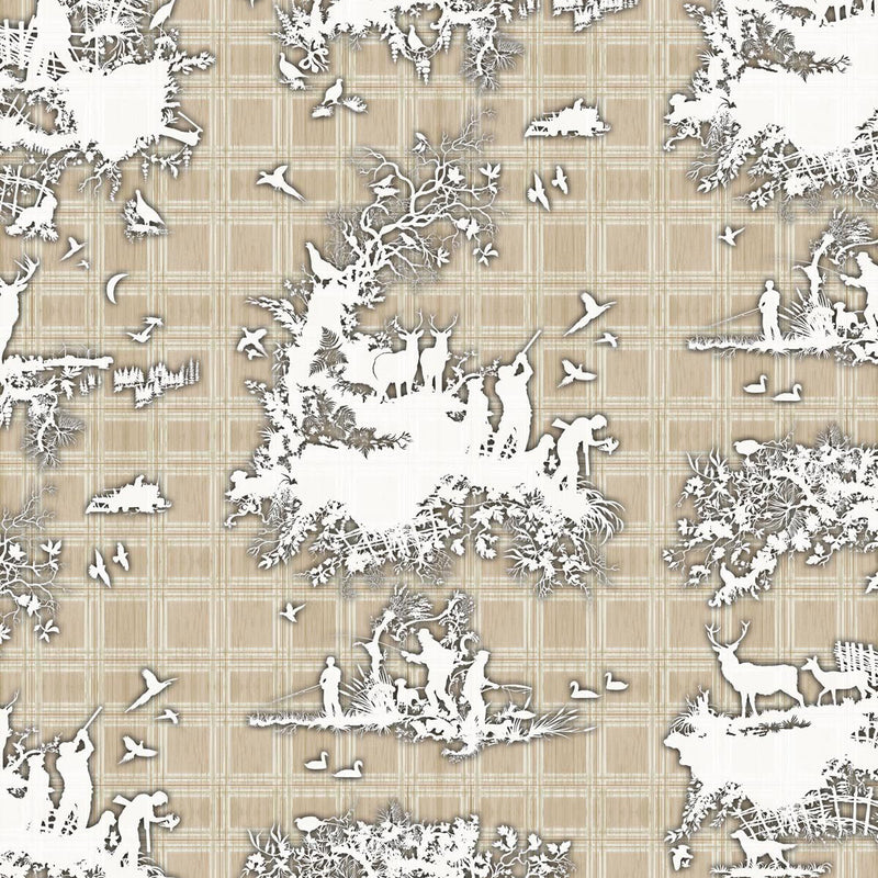 Timorous Beasties 'Classic Hunt' Wallpaper Beige