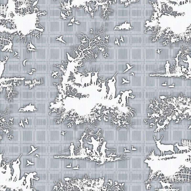 Timorous Beasties 'Classic Hunt' Wallpaper Blue