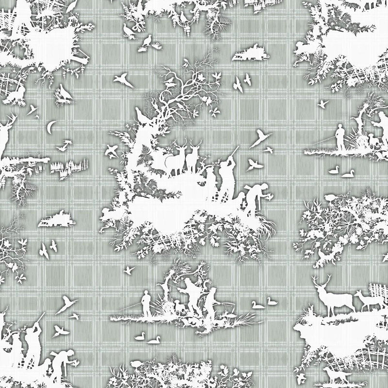 Timorous Beasties 'Classic Hunt' Wallpaper Grey