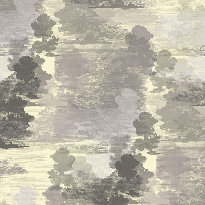 Timorous Beasties Cloud Toile Wallpaper Grey Yellow