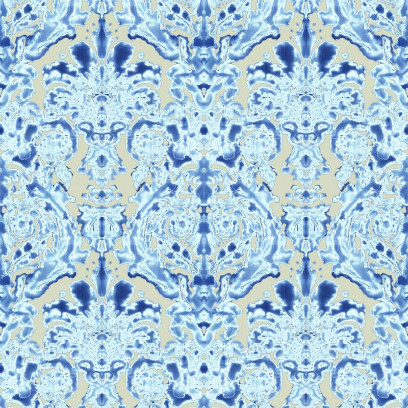 Timorous Beasties 'Dam Classic' Wallpaper Blue