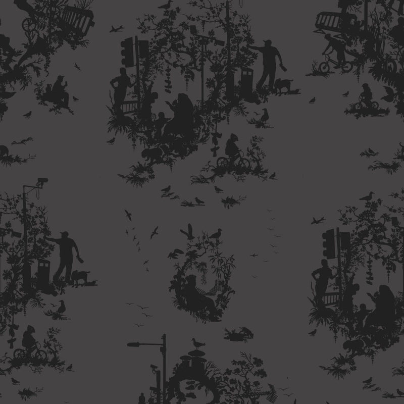 Timorous Beasties 'Decouper 3' Hand-Print Wallpaper Black on Black