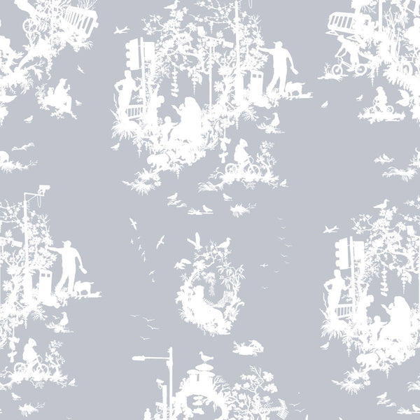 Timorous Beasties 'Decouper 3' Hand-Print Wallpaper White on Pale Blue