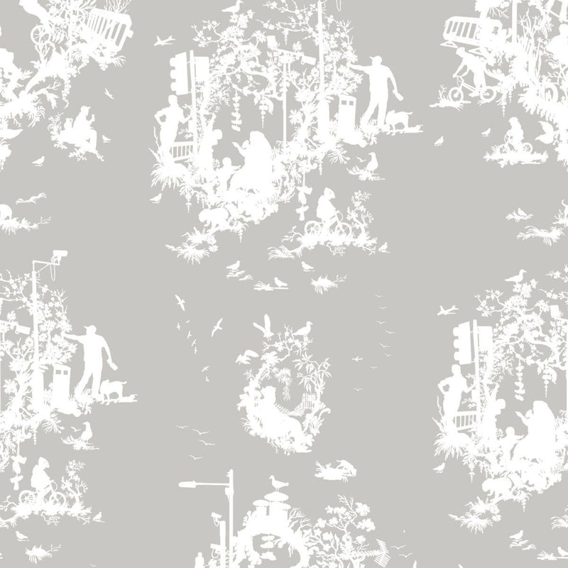 Timorous Beasties 'Decouper 3' Hand-Print Wallpaper White on Stone