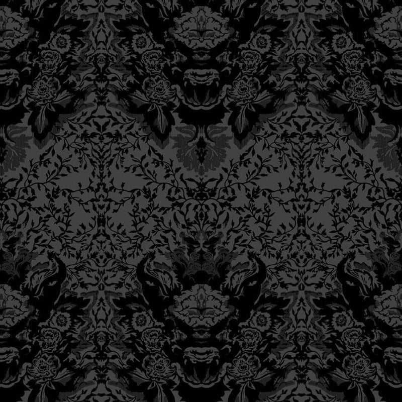 Timorous Beasties Devil Damask Flock Wallpaper Black