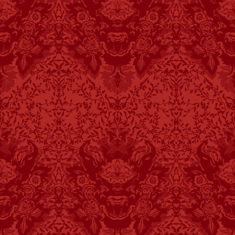 Timorous Beasties Devil Damask Flock Wallpaper Red