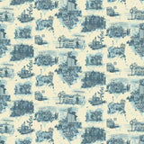 Timorous Beasties 'Edinburgh Toile' Wallpaper Blue